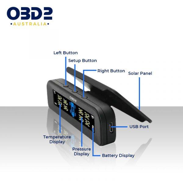 tpms car solar tyre pressure monitoring system 4 external sensors b