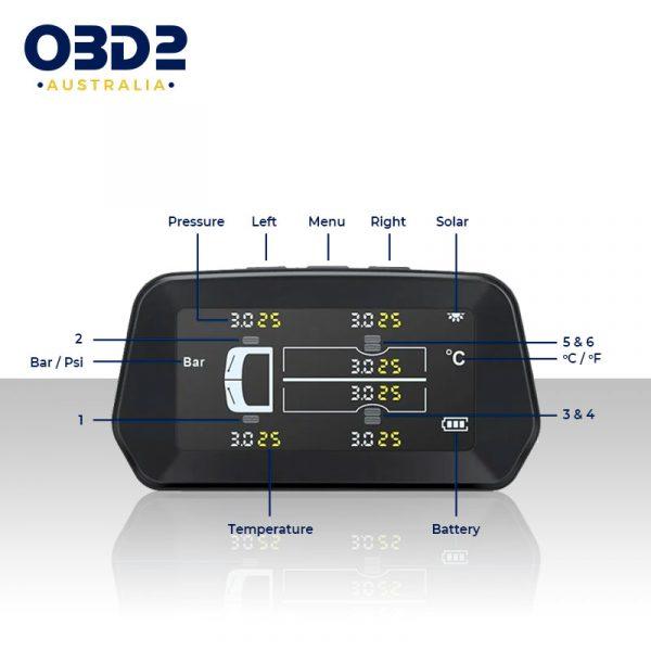 tyre pressure monitoring system caravan camper rv 6 sensors c