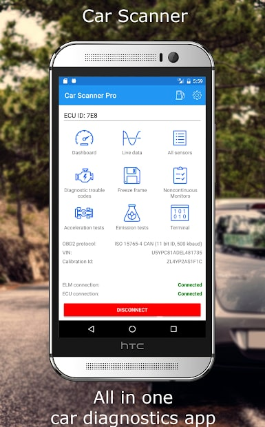 Car Scanner ELM OBD2 App Dashboard